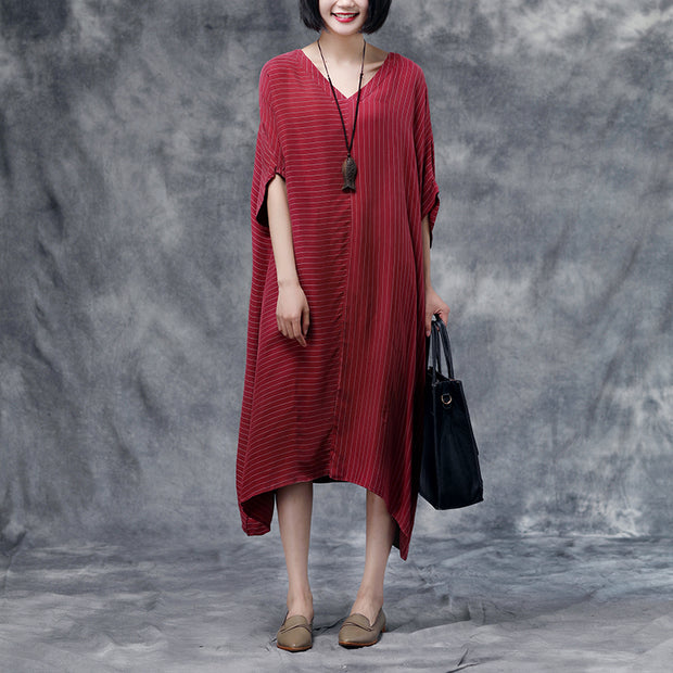 Summer Short Sleeve Stripe Casual Red Long Dress