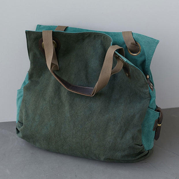 Canvas Leather Splicing Large Capacity Shoulder Bags
