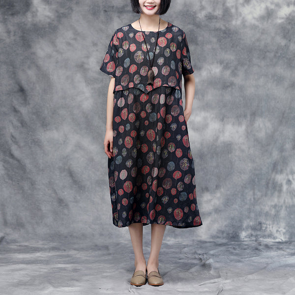 Summer Short Sleeve Red Casual Long Black Dress
