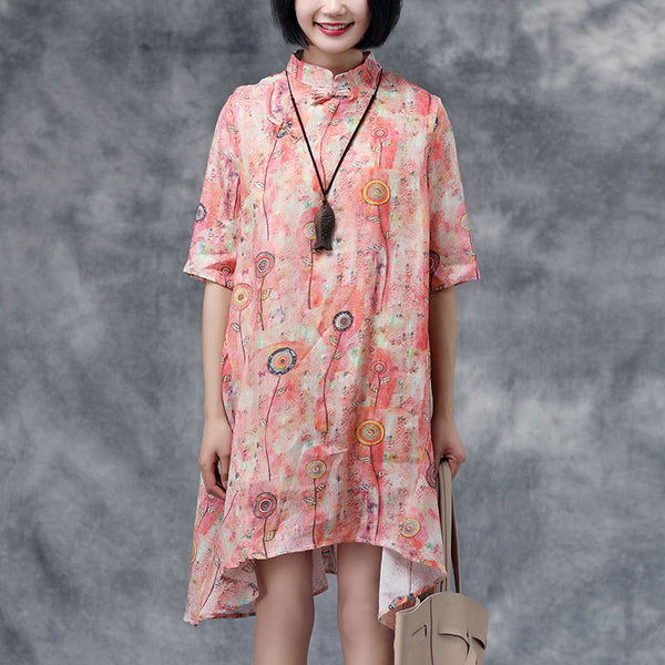 Summer Floral Stand Collar Casual Short Sleeve Dress