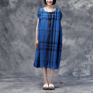 Summer Plaid Blue Sleeveless Pockets Casual Dress