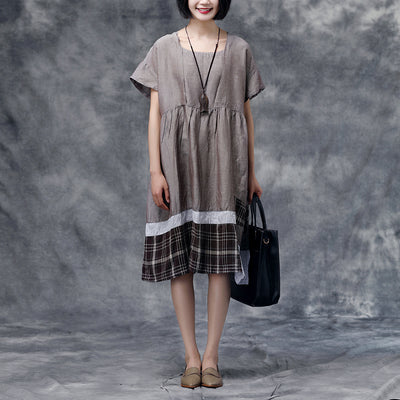 Summer Short Sleeve Casual Cotton Dress