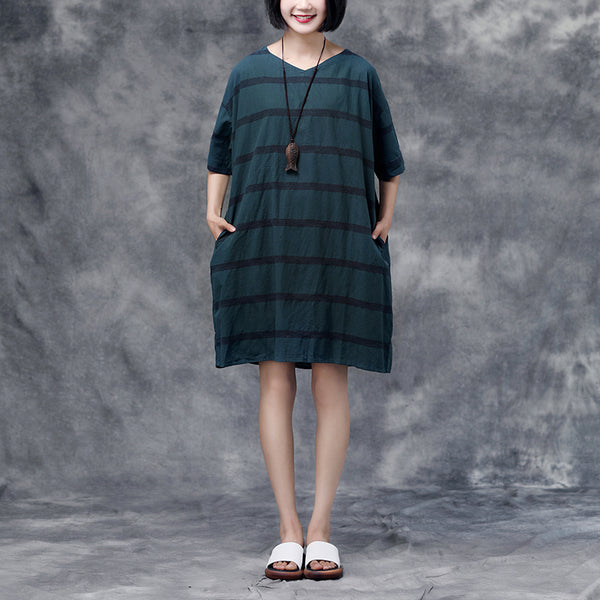 Summer Short Sleeve Pockets Casual Stripe Cotton Green Dress