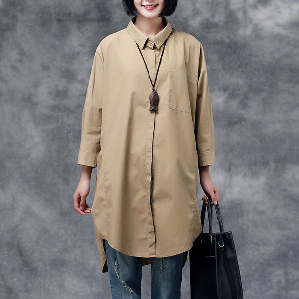 Women Summer Autumn Casual Solid Cotton Shirts
