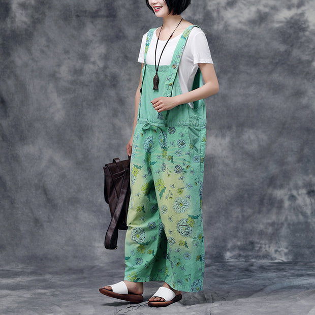 Women Green Summer Floral  Pockets  Long Leg Jumpsuits