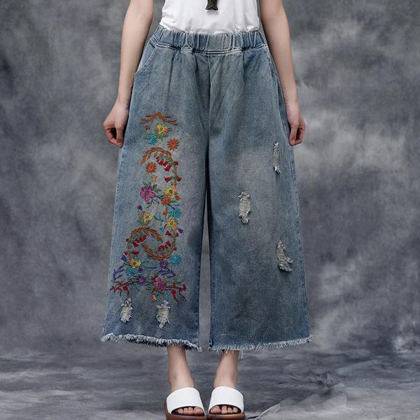 Women Summer Casual Pockets Embroidered Pants