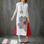 Sleeveless White Retro Boat Neck Summer Long Dress