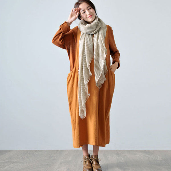 Autumn Long Sleeve Knit Stitching Cotton Linen Yellow Dress - Buykud