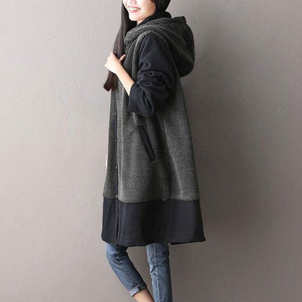 Cotton Stitching Hooded Coat