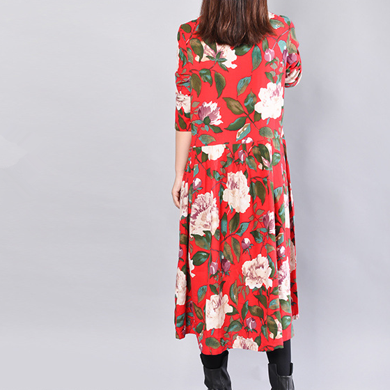 Autumn Fashion Casual Loose Floral Cotton Long Sleeves Red Dress - Buykud