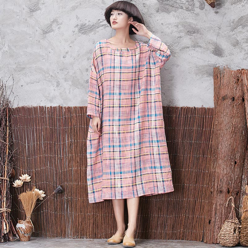 Classic Lattice Linen Loose Pink Dress - Buykud