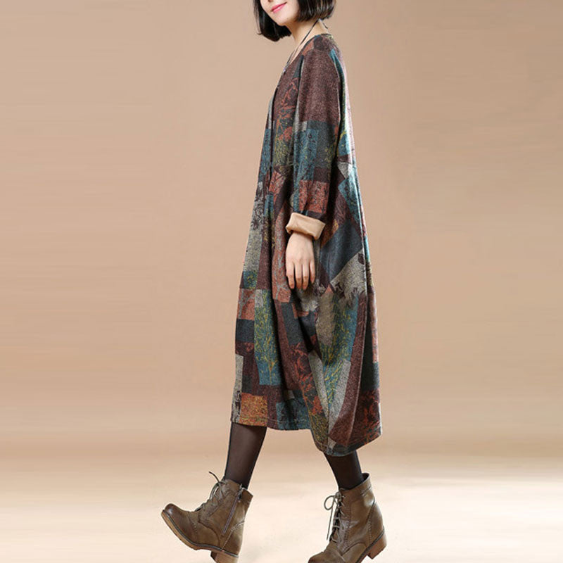 Loose Casual Large Hem Spring Coffee Dress - Buykud