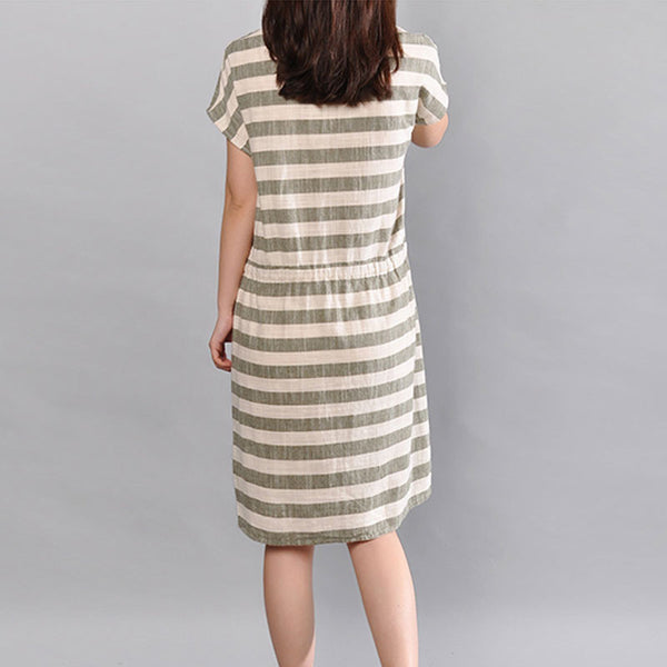 Stripe Women Loose Cotton Summer Pocket Green Dress