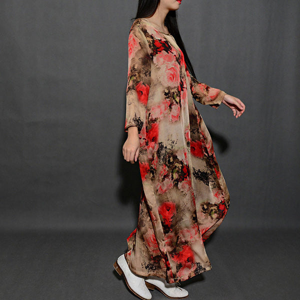 Spring Red Printing Loose Dress