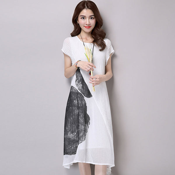 Linen Splicing Loose Women Casual Cotton Dress - Buykud