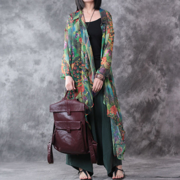 Summer Irregular Printing Chiffon Coat