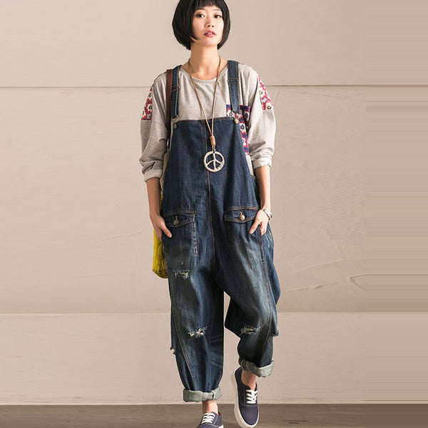 Spring Loose Denim Overalls Pants