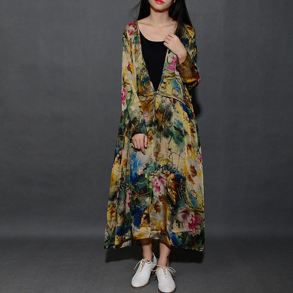 Women Printing V Neck Loose Spring Dress