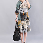 Cotton Pocket Printing Three Quarter Sleeves Women Green Dress - Buykud