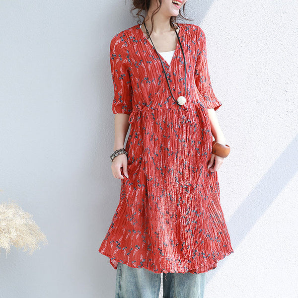 Linen Folded Lacing Floral V Neck Dress