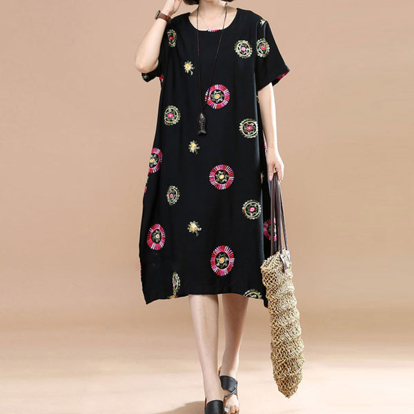 Retro Embroidery Short Sleeve Pockets Loose Women Black Dress