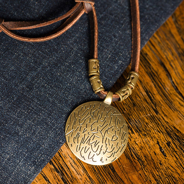 Alloy Pictograms Round Leather Chain Necklaces