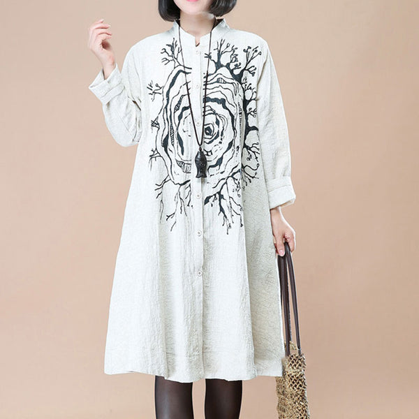 White Stand Collar Single Breasted Printing Long Sleeve Dress - Buykud