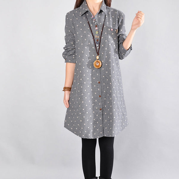Women Cotton Dot Gray Shirt