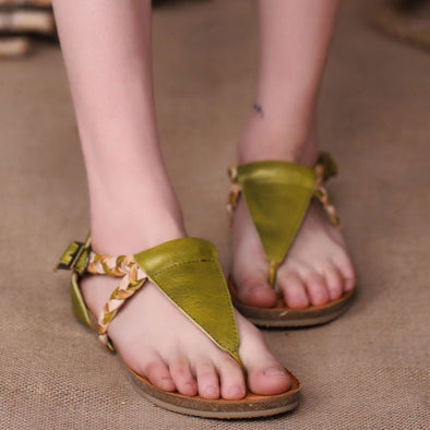 Summer Cowhide Leather Women Flat Sandals - Buykud