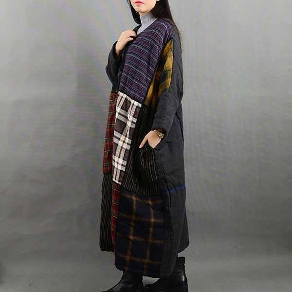 Irregular Plaid Coat