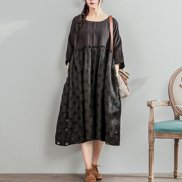 Splicing Women Jacquard Dot Linen Cotton Casual Black Dress