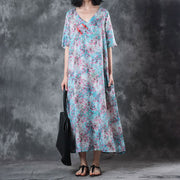 Retro V Neck Short Sleeve Printed Ramie Dress