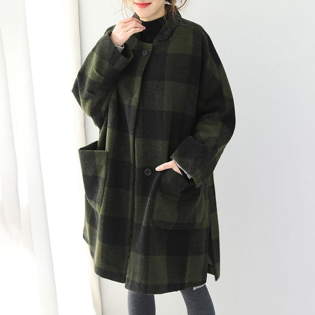 Autumn Winter Women Polo Collar Lattice Knee Length Overcoat - Buykud