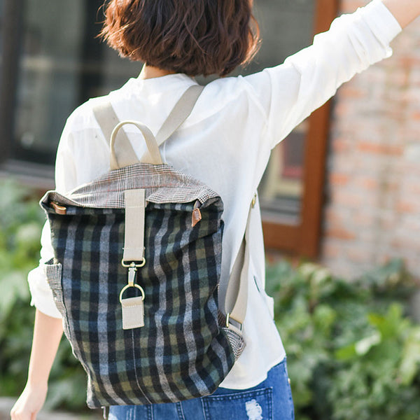 Casual Lattice Canvas Women Double Shoulder Bag