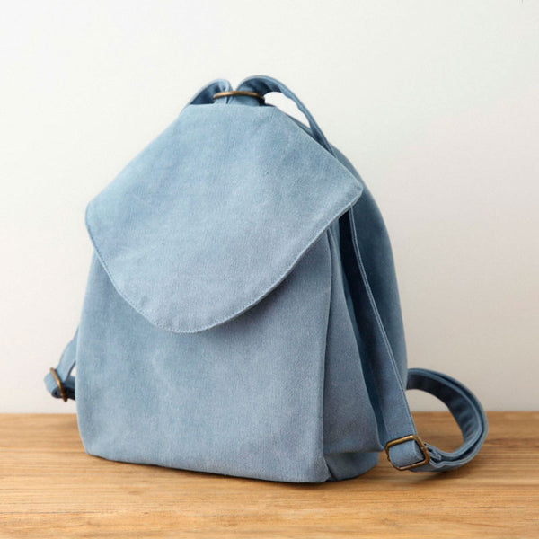 Women Casual Canvas Backpack Literature Zipper Blue Shoulder Bag - Buykud