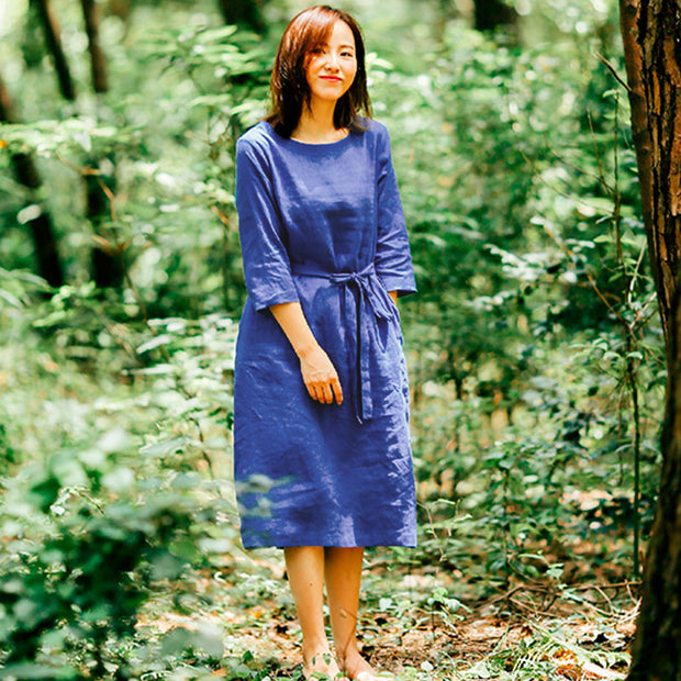Loose Casual Women Round Neck Three Quarter Sleeve Blue Dress - Buykud