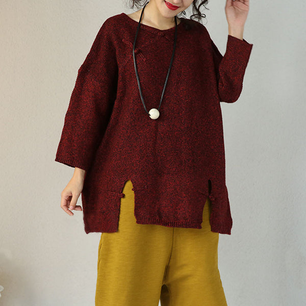 Red Loose Casual Sweater