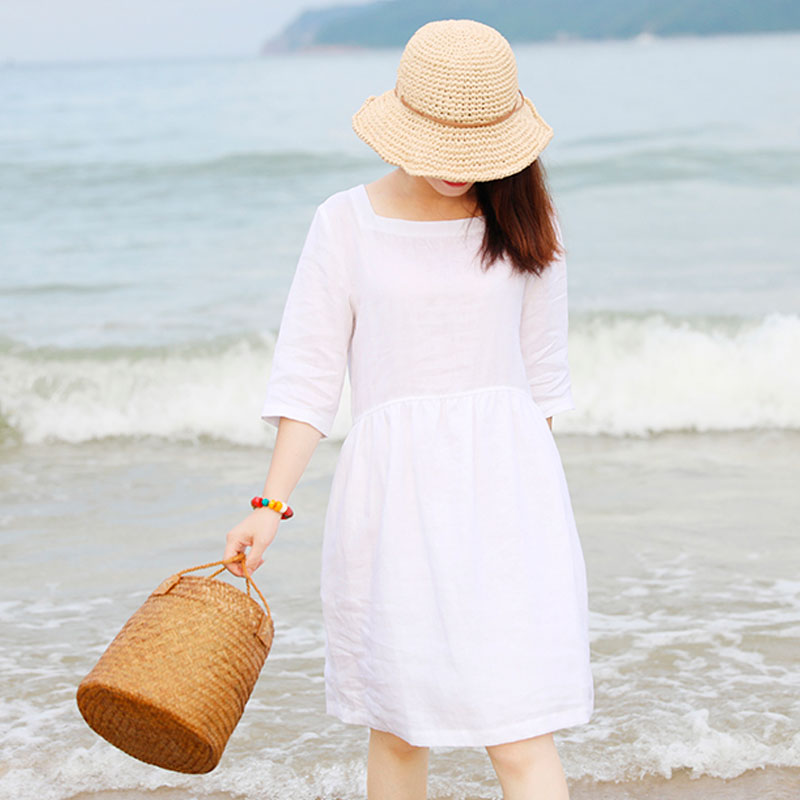 Special Collar Design Women Half Sleeve Loose White Folded Dress - Buykud