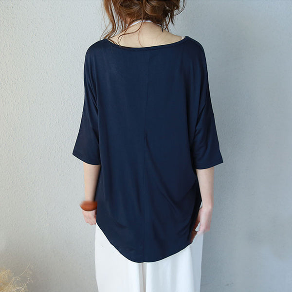 Irregular Summer Loose Casual Cotton Women Navy Blue Shirt - Buykud