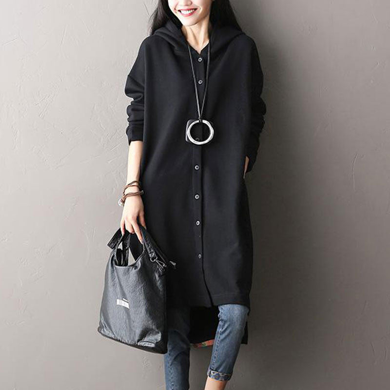 Knitted Cotton Hooded Irregular Coat