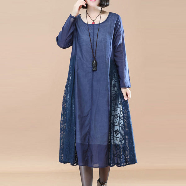 Elegant Literature Lace Casual Loose Long Sleeves Blue A-line Dress