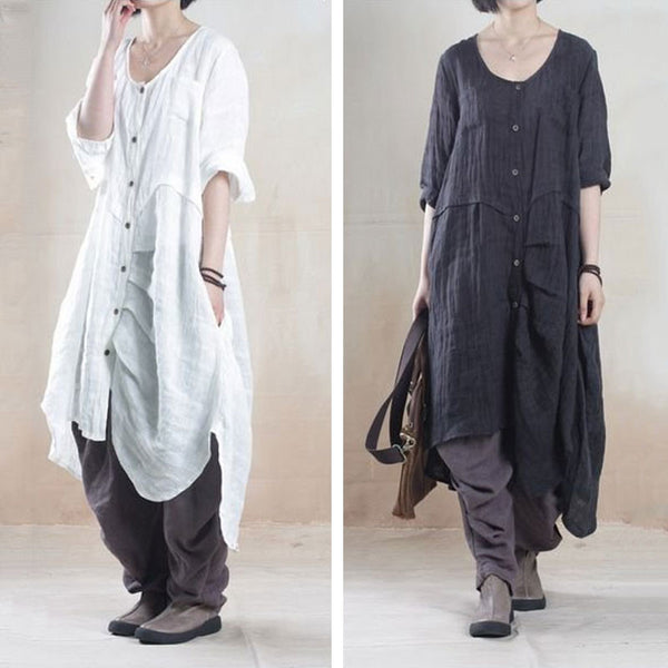 Women linen summer shirt dress