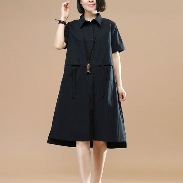 Summer Short Sleeves Women Irregular Lacing Black Dress - Buykud