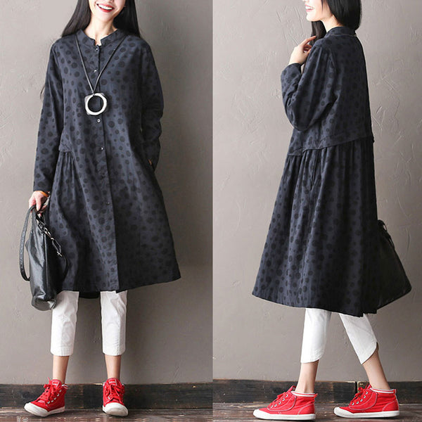 Cotton Splicing Casual Dot Coat