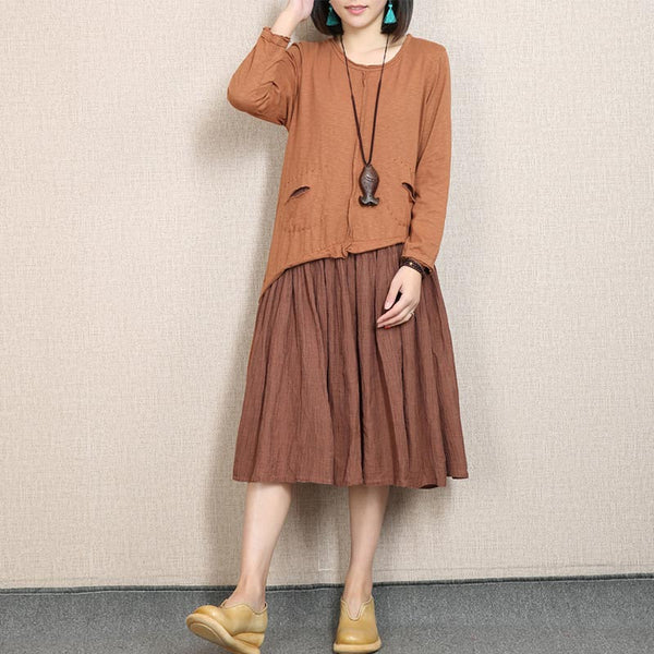 Linen Splicing Fold Round Neck Orange Dress