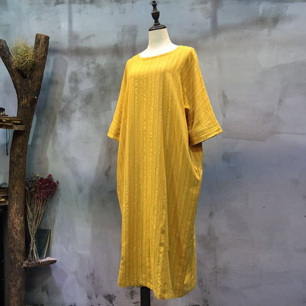 Loose Casual Round Neck Yellow Dress