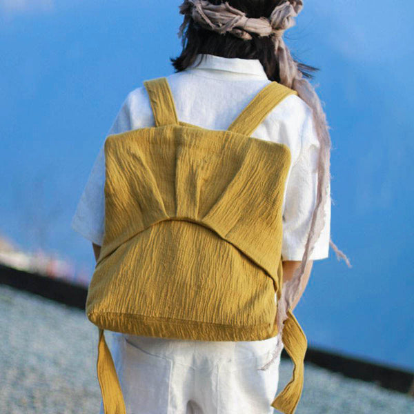 Folded Women Casual Linen Cotton Soft Yellow Backpack
