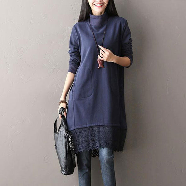 Blue Loose High Necked Dress