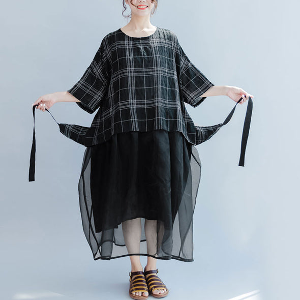 Lattice Splicing Women Loose Summer Lacing Cotton Linen Black Dress - Buykud
