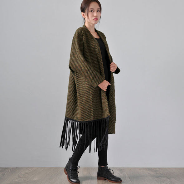 Green Wool Cardigan Jacket Coat - Buykud